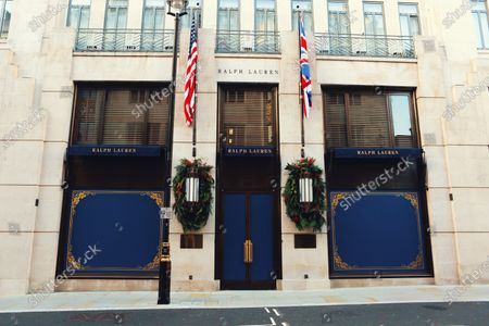 Stock Picture of A view of a closed Ralph Lauren, Mayfair during the lockdown. Many businesses have now closed under the new lockdown restriction that will last until December 2.