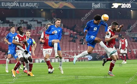 Shkodran Mustafi (R) of Arsenal in action against Henry Wingo of Molde during the UEFA Europa League group B match between Arsenal London and Molde FK in London, Britain, 05 November 2020.