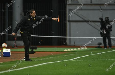 Assistant coach of AEK Athens F.C. Gianluca Colonello is pictured on the sideline during the UEFA Europa League Matchday 3 Group G game against FC Zorya Luhansk at the Slavutych Arena, Zaporizhzhia, southeastern Ukraine.