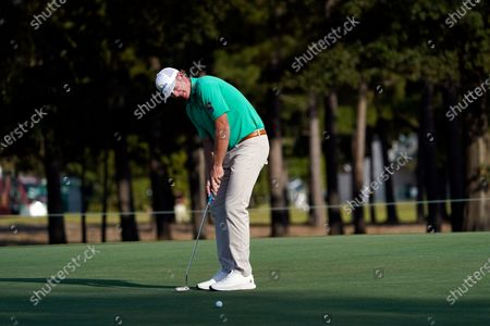 Brandt Snedeker watches his birdie attempt on the 11th hole during the first round of the Houston Open golf tournament, in Houston