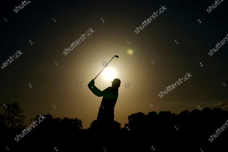 Brandt Snedeker hits his second shot on the 17th hole during the first round of the Houston Open golf tournament, in Houston