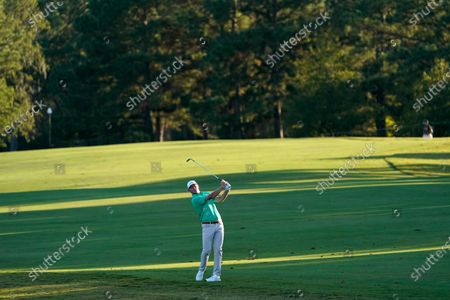 Brandt Snedeker hits his third shot on the 16th hole during the first round of the Houston Open golf tournament, in Houston