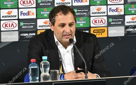 Assistant coach of AEK Athens F.C. Gianluca Colonnello attends a post-match news conference after his team claimed a 4-1 win over FC Zorya Luhansk in the UEFA Europa League Matchday 3 Group G fixture, Zaporizhzhia, southeastern Ukraine.