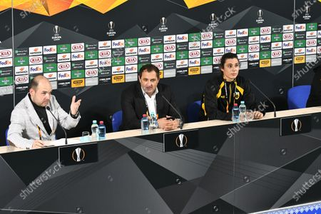 Assistant coach of AEK Athens F.C. Gianluca Colonnello (C) attends a post-match news conference after his team claimed a 4-1 win over FC Zorya Luhansk in the UEFA Europa League Matchday 3 Group G fixture, Zaporizhzhia, southeastern Ukraine.