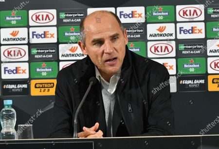 Head coach of FC Zorya Luhansk Viktor Skrypnyk is pictured during a post-match news conference as his team suffered a 1-4 defeat to AEK Athens F.C. in the UEFA Europa League Matchday 3 Group G fixture, Zaporizhzhia, southeastern Ukraine.