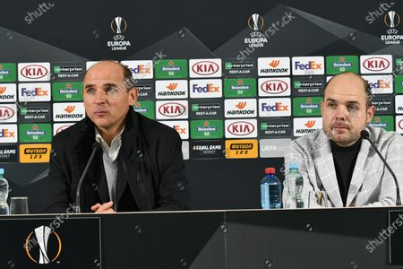 Head coach of FC Zorya Luhansk Viktor Skrypnyk (L) is pictured during a post-match news conference as his team suffered a 1-4 defeat to AEK Athens F.C. in the UEFA Europa League Matchday 3 Group G fixture, Zaporizhzhia, southeastern Ukraine.