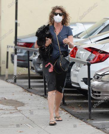 Stock Picture of Rachel Hunter seen walking with her dog