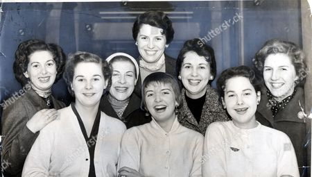 Stock Image of Eight Girls Chosen To Work The The Ausralian Stand. 60 Girls Had Gathered At Australia House London In The Hope Of Being Chosen For The Job. These Eight Were Amog The Lucky Ones. (front Row Left To Right) Barbara Watts Joan Jamieson And Gillian Wallace. Second Row: Shirley Johnstone Cecile Wykes Thelma Nightley Lesley Langtry. At The Back Is Moya Knight. Scenes At The Daily Mail Ideal Home Exhibition 1955 At Olympia London.