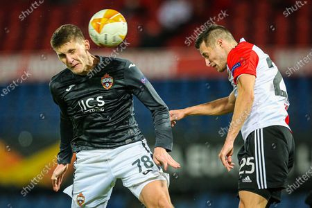 Igor Diveev (L) of CSKA Moscow and Uros Spajic (R) of Feyenoord vie for the ball during a UEFA Europa League group K match between Feyenoord and CSKA Moscow in the Kuip in Rotterdam, The Netherlands, 05 November 2020 (issued 06 November 2020).