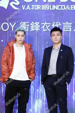 Nick Chou attends a press conference of one boy winter jacket in Taipei.