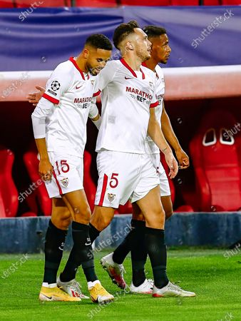 Youssef En Nesyri and Diego Carlos and Fernando Reges of Sevilla FC