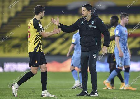 Vladimir Ivic manager of Watford congratulates goalscorer William Troost-Ekong of Watford