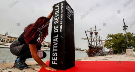 Stock Photo of A staff member works in the preparations for the presentation of the opening gala of the 17th European Film Festival in Seville, Spain, 06 November 2020. The Festival kicks off this afternoon with the showing of the film 'Ondina' by German Christian Petzold and will run until the upcoming 14 November.