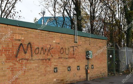 Stock Photo of Graffiti calling for Sheffield Wednesday manager Garry Monk to leave is seen outside Hillsborough