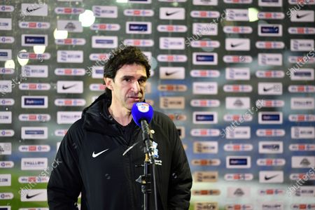 Aitor Karanka Head Coach of Birmingham City is interviewed n front of a sky bet branded backdrop and microphone.