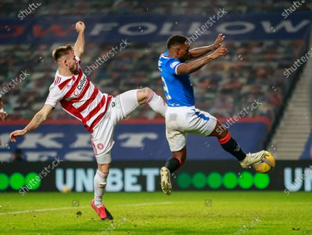 Jermain Defoe of Rangers beats Scott McCann of Hamilton before Kemar Roofe of Rangers scored to give Rangers a 6-0 lead during the Scottish Premiership match between Rangers & Hamilton Academical at Ibrox Stadium, Glasgow on 08 Nov 2020