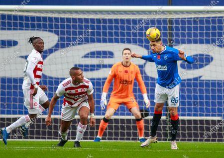 Leon Balogun of Rangers heads the ball clear during the Scottish Premiership match between Rangers & Hamilton Academical at Ibrox Stadium, Glasgow on 08 Nov 2020