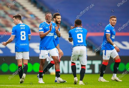 Joe Aribo of Rangers celebrates with Jermain Defoe of Rangers after scoring to give Rangers a 2-0 lead during the Scottish Premiership match between Rangers & Hamilton Academical at Ibrox Stadium, Glasgow on 08 Nov 2020