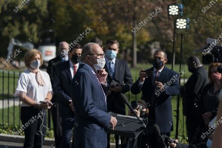 Director of the National Economic Council Larry Kudlow (C) speaks to the media at the White House in Washington, DC, USA, 06 November 2020.