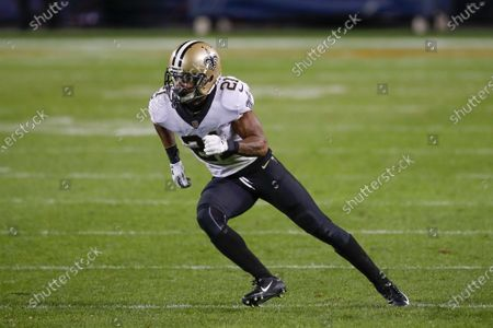 New Orleans Saints cornerback Patrick Robinson (21) in action against the Chicago Bears during the overtime of an NFL football game, in Chicago