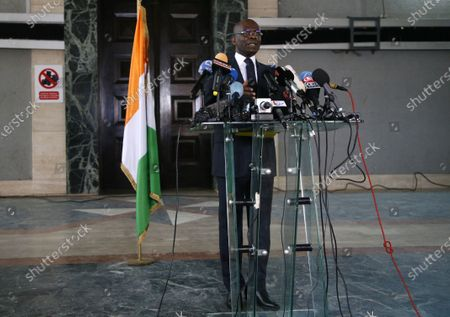 The public prosecutor Adou Richard speaks during a press conference relating to the members of the National Transitional Council (CNT), in Abidjan, Ivory Coast, 06 November 2020. After the creation by the Ivorian opposition coalition of a National Transition Council (CNT), on 02 November 2020, two days after the presidential election, the Ivorian government seized the Public Prosecutor at the court of first instance in Abidjan so that the perpetrators and accomplices of these offenses are brought before the courts.