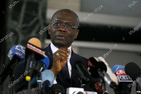 Stock Photo of The public prosecutor Adou Richard speaks during a press conference relating to the members of the National Transitional Council (CNT), in Abidjan, Ivory Coast, 06 November 2020. After the creation by the Ivorian opposition coalition of a National Transition Council (CNT), on 02 November 2020, two days after the presidential election, the Ivorian government seized the Public Prosecutor at the court of first instance in Abidjan so that the perpetrators and accomplices of these offenses are brought before the courts.
