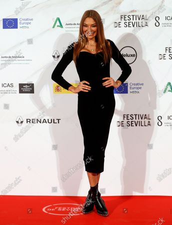 Lucia Hoyos poses on the red carpet of the Teatro Lope de Vega venue during the inauguration gala of the 17th Seville European Film Festival, in Sevilla, southern Spain, 06 November 2020. The event runs until 16 November.