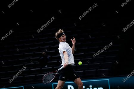 Germany's Alexander Zverev returns the ball to Switzerland's Stan Wawrinka during their quarter-final game of the Paris Masters tennis tournament at the Bercy Arena in Paris
