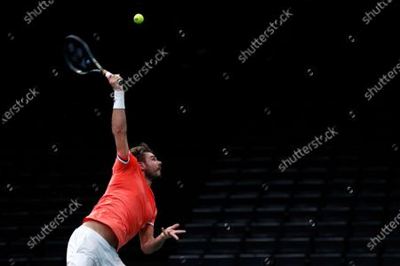Switzerland's Stan Wawrinka serves to Germany's Alexander Zverev during their quarter-final game of the Paris Masters tennis tournament at the Bercy Arena in Paris