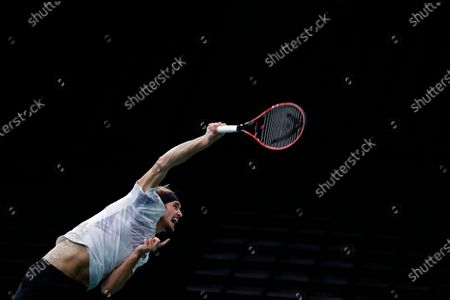 Stock Image of Germany's Alexander Zverev serves to Switzerland's Stan Wawrinka during their quarter-final game of the Paris Masters tennis tournament at the Bercy Arena in Paris