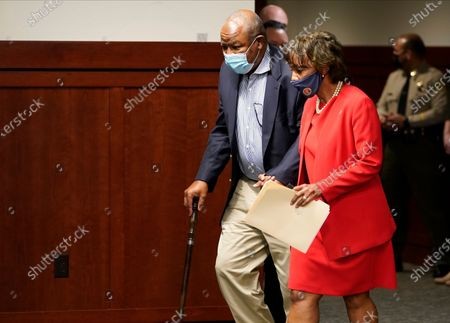 Los Angeles District Attorney Jackie Lacey and her husband, David Lacey, arrive at the Hall of Justice in Los Angeles . Lacey conceded to former San Francisco District Attorney George Gascon during a news conference