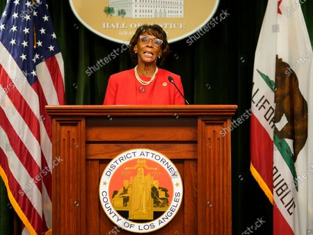 Los Angeles District Attorney Jackie Lacey concedes to former San Francisco District Attorney George Gascon during a news conference at the Hall of Justice in Los Angeles