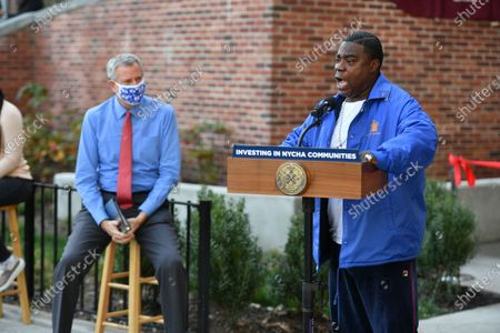 Mayor Bill de Blasio and Tracy Morgan attend the ribbon-cutting and deliver remarks at the opening of the Marcy Houses Community Center in Brooklyn..