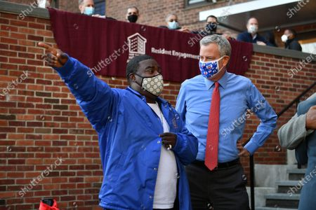 Mayor Bill de Blasio and Tracy Morgan attend the ribbon-cutting and deliver remarks at the opening of the Marcy Houses Community Center in Brooklyn.