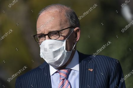 Director of the National Economic Council Larry Kudlow speaks to the media at the White House at the White House in Washington, DC.