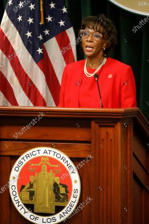 Editorial image of Los Angeles County District Attorney Jackie Lacey smiles as a crowd of co-workers applaudes her as she takes to the podium before concedeing to opponent George Gascon at the Hall of Justice in downtown Los Angeles Friday morning, Hall of Justice, Los Angel