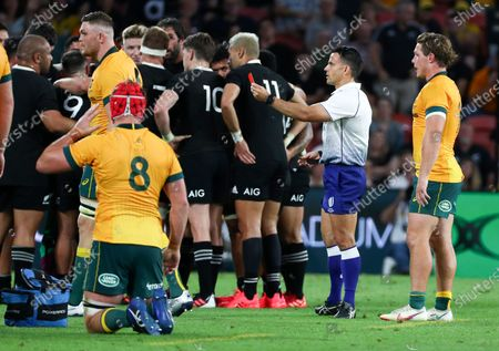 Stock Picture of Referee Nick Berry shows a red card to Australia's Lachie Swinton for a dangerous tackle during the Bledisloe rugby test between Australia and New Zealand at Suncorp Stadium, Brisbane, Australia, Saturday, Nov.7, 2020