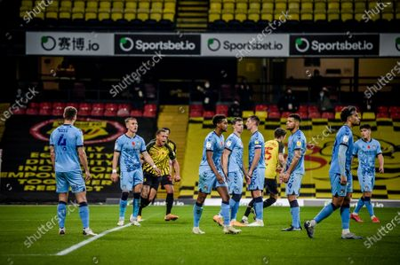 William Troost-Ekong equalises for Watford in the 66th minute for 2-2; Vicarage Road, Watford, Hertfordshire, England; English Football League Championship Football, Watford versus Coventry City.