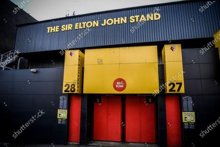 An external view of the Sir Elton John Stand at Vicarage Road.; Vicarage Road, Watford, Hertfordshire, England; English Football League Championship Football, Watford versus Coventry City.