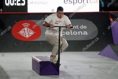 Stock Photo of Eduard Cortes (ESP) during Scooter mens street semifinal; Parc del Forum, Barcelona, Catalonia, Spain; Imagin Extreme Barcelona.