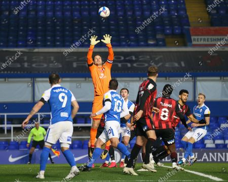 Asmir Begovic #1 of Bournemouth catches the ball from a cross