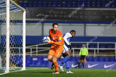 Asmir Begovic #1 of Bournemouth holds he ball safe