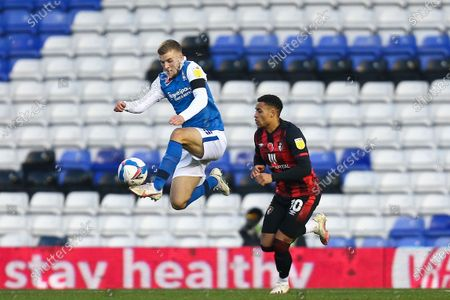 Riley McGree #18 of Birmingham City controls the ball in the air