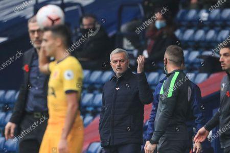José Mourinho manager of Tottenham Hotspur appeals to fourth official Steve Martin