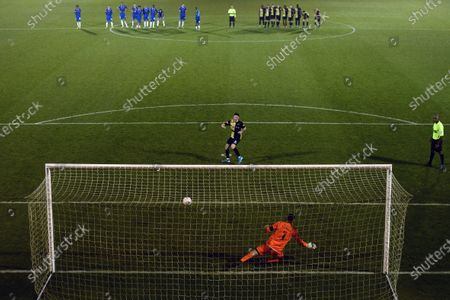 Michael Howard of Marine scores the winning penalty - Colchester United v Marine, The Emirates FA Cup first round, JobServe Community Stadium, Colchester, UK - 7th November 2020Editorial Use Only - DataCo restrictions apply