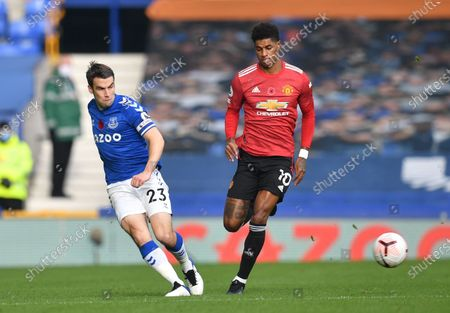 Seamus Coleman (L) of Everton in action against Marcus Rashford (R) of Manchester United during the English Premier League soccer match between Everton FC and Manchester United in Liverpool, Britain, 07 November 2020.