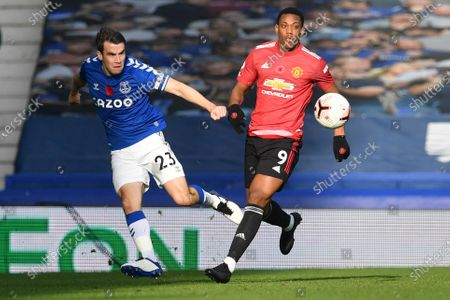 Stock Picture of Everton's Seamus Coleman, left, is challenged by Manchester United's Anthony Martial during the English Premier League soccer match between Everton and Manchester United at the Goodison Park stadium in Liverpool, England