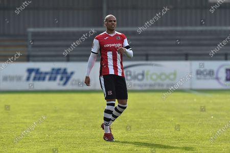 Stock Photo of Jake Caprice (2) of Exeter City during the The FA Cup match between Exeter City and Flyde at St James' Park, Exeter