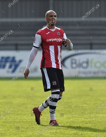 Jake Caprice (2) of Exeter City during the The FA Cup match between Exeter City and Flyde at St James' Park, Exeter