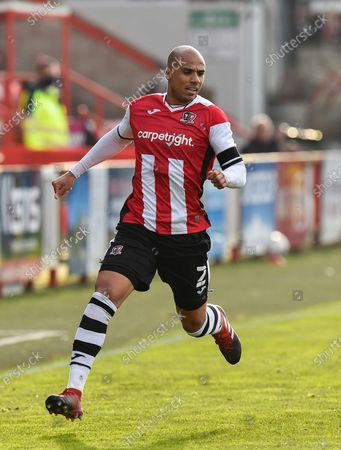 Stock Image of Jake Caprice (2) of Exeter City during the The FA Cup match between Exeter City and Flyde at St James' Park, Exeter